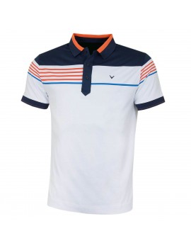 pánské triko Callaway Stripe Chest Blocked Polo Bright White