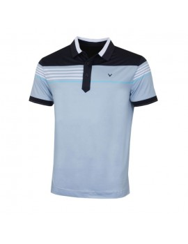 pánské triko Callaway Stripe Chest Blocked Polo Dusty Blue